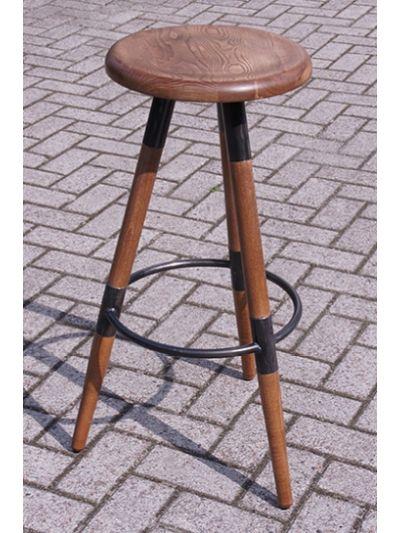 Barkruk van hout en metaal