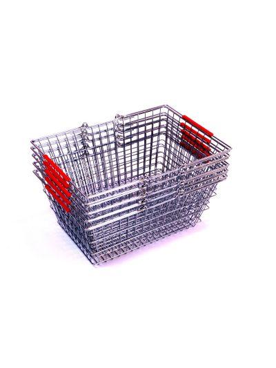 Set 5 winkelmandjes chroom rode handvatten