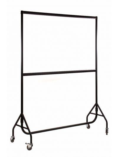 Set van 2 kledingrekken dubbel extra sterk zwart 150 cm bxhxd 150x190x54 cm