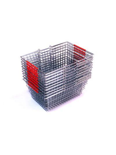 Set 10 winkelmandjes chroom rode handvatten
