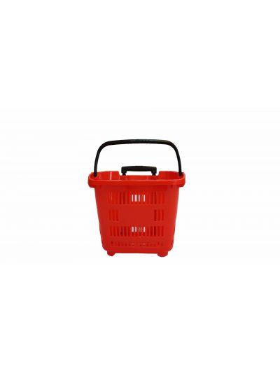 Winkelmand op wielen Kunststof 35 Liter Rood set van 15
